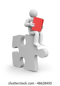 Person read the book on puzzle