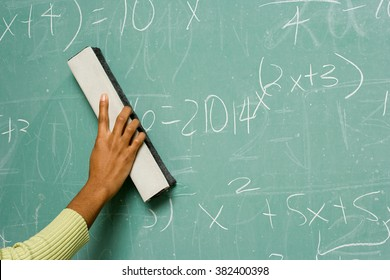 Person removing formulas from the blackboard