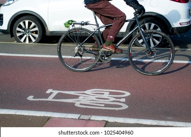 Person riding a bicycle on a cycle path next to cars