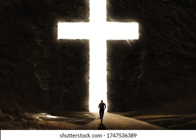 Person running to the safety of the Cross cut into a giant mountain