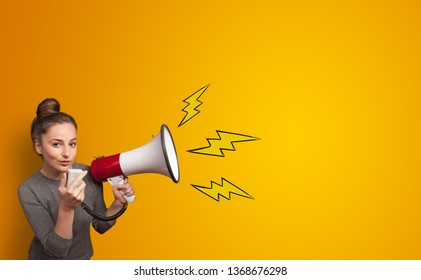 Person shouting lighting bolts with megaphone