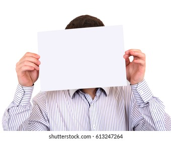 Person shows Empty Paper on the White Background