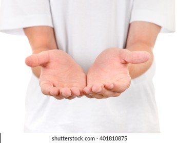 Person shows his Palms closeup On The White Background