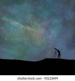 Person in silhouette looks through a telescope at a digitally stylized night sky.