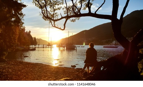 A person sitting under a tree looking into the distance. The picture feels peaceful, calm and quiet. This is perfect for travel or vacation wallpaper.