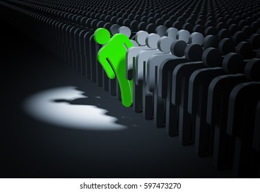 Person in the spot of searchlight looks out from the crowd. 3d illustration