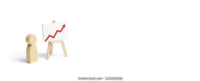 A person is standing near a chart with a red up arrow. Financial success and achievement. Business report and idea. Summarizing. Analysis and market research. Education in economics. banner