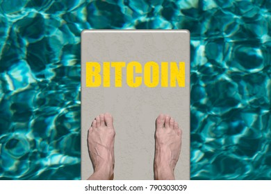 Person standing on diving board with Bitcoin risk concept text