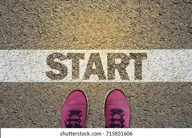 A person standing in the starting line