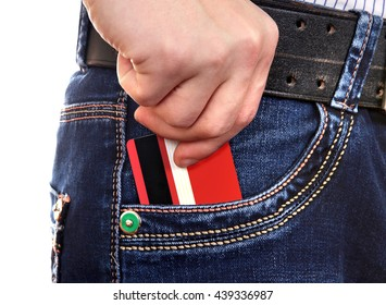 Person take up Credit Card from the Pocket of the Jeans