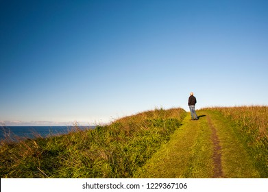 Person takes in the ocean views along the Kaikoura Coastal Track. Hiker stands on green, grassy clifftop with clear blue sky background .