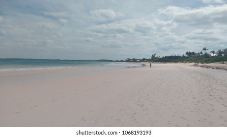 Person taking a walk in the lonely pink sand beach in Harbour Island, Eleuthera, Bahamas