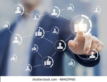 Person touching buttons connected together. Concept of marketing, reputation management and social media networking