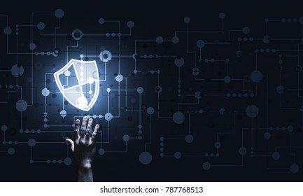 Person touching shield glowing icon as concept about security and protection