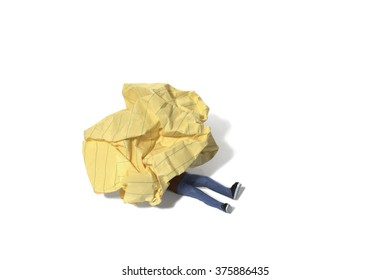 Person Trapped Under Crumpled Paper