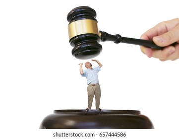 A person tries to change legislation in order to protect his right.  Man stuck Between the hammer and the anvil.