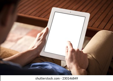 The person using the digital tablet in living room, ipade style
