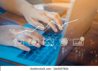Person using a laptop computer with dIgital marketing technology concept. new startup project online search engine optimisation.