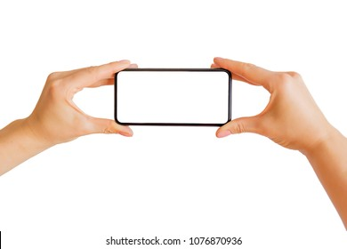 Person using phone's camera.