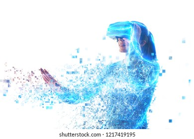 A person in virtual glasses flies to pixels. Future technology concept. Modern imaging technology.