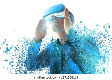 A person in virtual reality glasses flies to pixels. The concept of new technologies and technologies of the future.VR glasses.