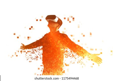 A person in virtual reality glasses flies to pixels. The concept of new technologies and technologies of the future. VR glasses.