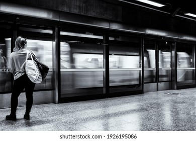 a person waiting for the train