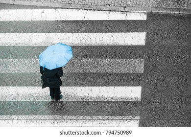 Person walking on city street during rainy day holding umbrella protecting from rain. High angle top view.