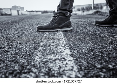 Person walking on road direction line, traffic sign and symbol