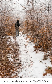 Person walking on the snowy path
