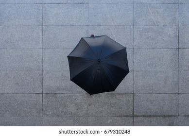 Person walking outdoors under black umbrella