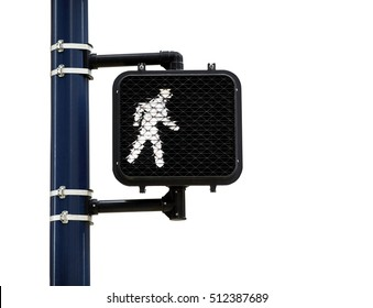 Person walking symbol on lighted pedestrian street crossing sign mounted to a pole isolated on white