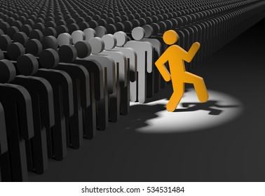 Person wants to stand out from the crowd. 3d illustration