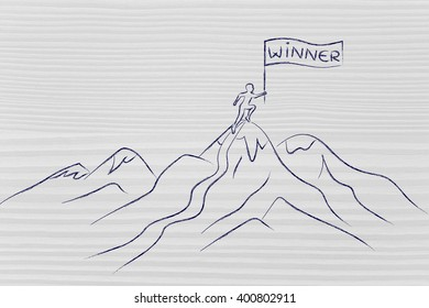 person who reached the top of a mountain holding a Winner banner