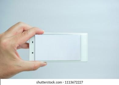 Person who use white smartphone