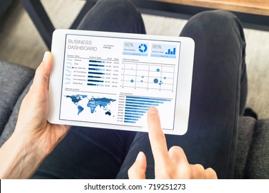 Person working on business analytics (BA) or intelligence (BI) dashboard on a digital tablet computer screen with key performance indicators (KPI) and big data statistics