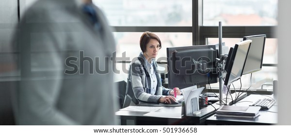 Personal assistant working in corporate office. Business and entrepreneurship concept.