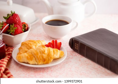 Personal Bible Study at a Table Set for Breakfast