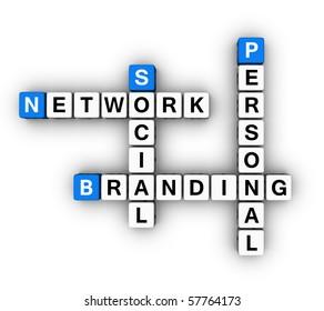 Personal Branding Social Network  (blue-white cubes crossword series)