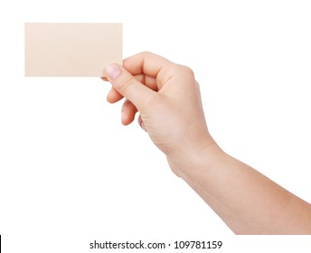 Personal business card in the human hand