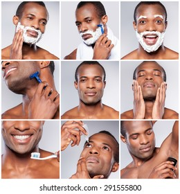 Personal care. Composite image of handsome young African man grooming while standing against grey background