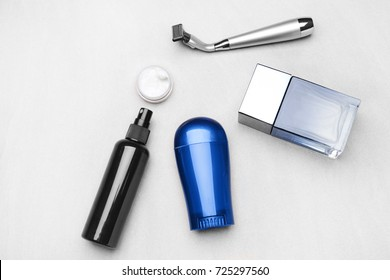 Personal care products for men on light background