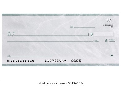 A personal check shot straight on without name and address and has fake numbers