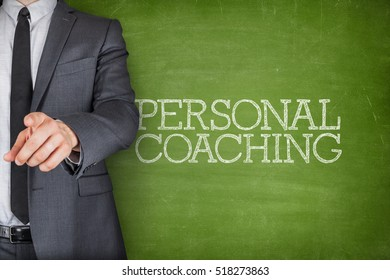 Personal coaching on blackboard with businessman