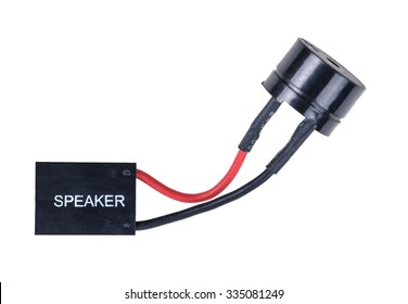 Personal computer main board internal speaker. Closeup. Isolated on white background.