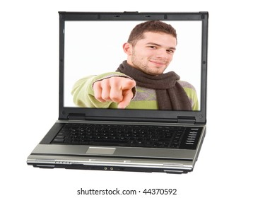 A personal computer with a man, isolated on white background