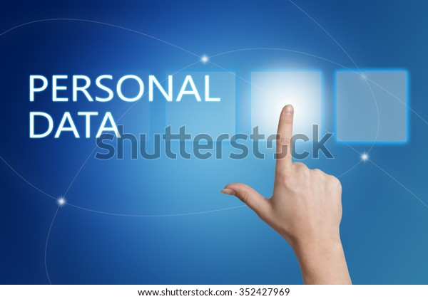 Personal Data - hand pressing button on interface with blue background.