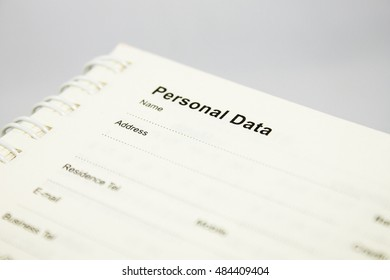 personal data information notebook book address contact