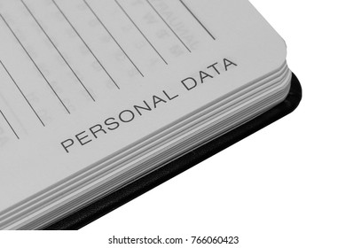 Personal Data Words on Notebook