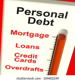 Personal Debt Meter Showing Mortgage Credit And Loans